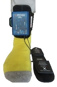 Weight sensing heel and forefoot pads are attached to the portable Data Logger