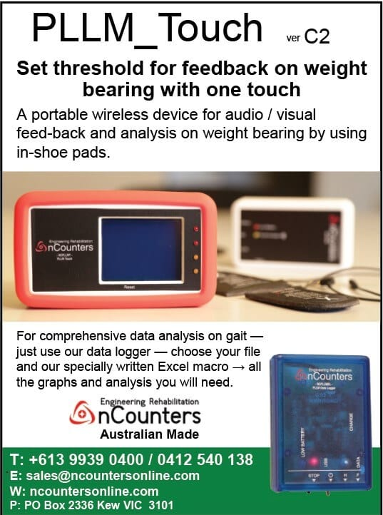 Portable wireless device for audio/visual biofeedback on weight bearing.