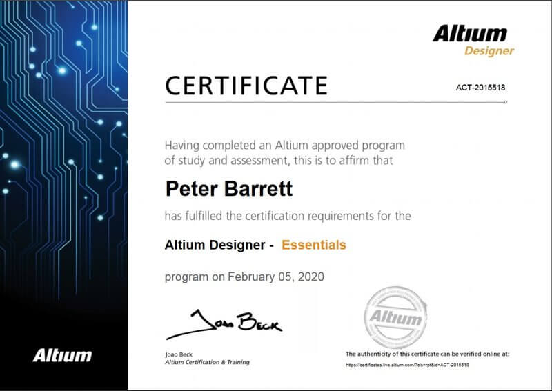 Altium Software Designer Essentials Certificate