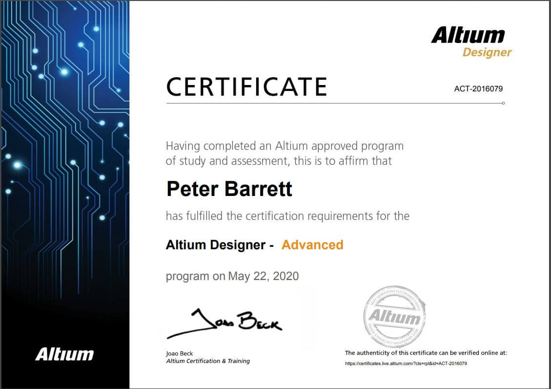Altium Designer Advanced Certificate